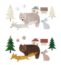 森と家と動物達水彩