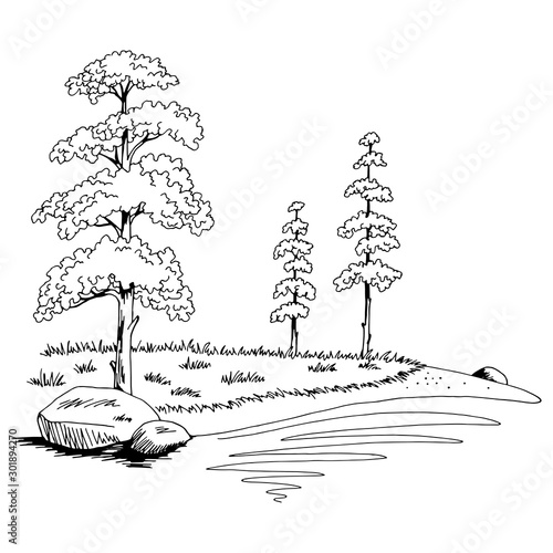 Leinwand Poster Pine tree lake coast graphic black white landscape sketch illustration vector