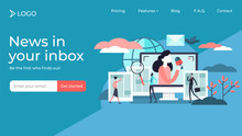 News Flat Tiny Persons Vector Illustration Landing Page Template Design.