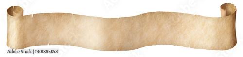 Fototapeta Vintage paper long scroll isolated on white obraz