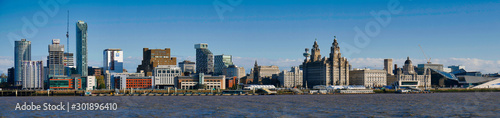 Liverpool's UNESCO listed waterfront including modern office buildings, Liverpool's Anglican Cathedral, the Three Graces and the new Museum of Liverpool.