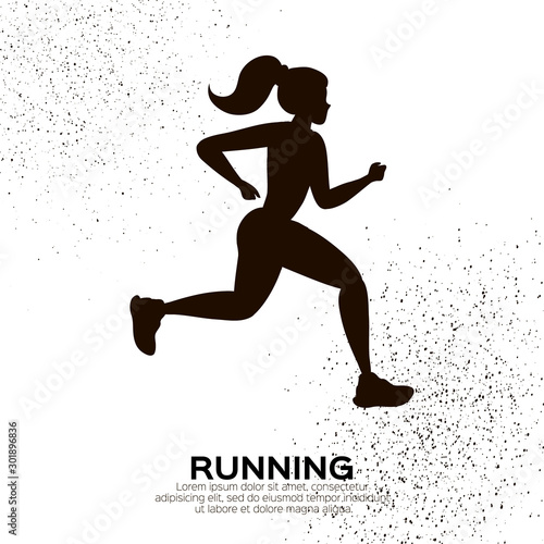Fototapety, obrazy: Young lady running. Happy fitness woman. Woman runner in black silhouette on white background. Gogging. Dynamic movement. Side view.