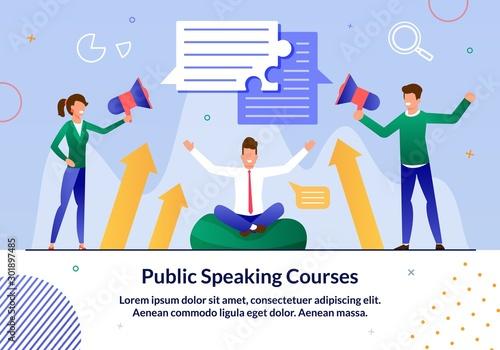 Public Speaking Courses, Business Leadership Seminar Trendy Flat Vector Advertis Tapéta, Fotótapéta