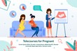 Telecourses, Seminars and Lessons for Pregnant Ladies Trendy Flat Vector Advertising Banner, Promo Poster Template with Pregnant Women Listening Lecture or Classes About Happy Maternity Illustration