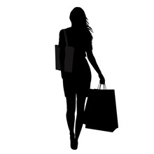 Silhouette Of Woman With Shopping Bags