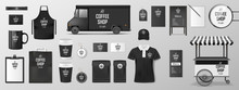 Mockup Set For Coffee Shop, Cafe Or Restaurant. Coffee Corporate Identity Design. Realistic Set Of Cardboard, Paper Pack, Food Delivery Truck, Cup, Pack, Uniform, Shirt, Street Menu
