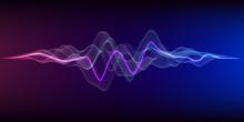 Music 3d Equalizer Abstract Background. Grid Color Waveform On Gradient Background.