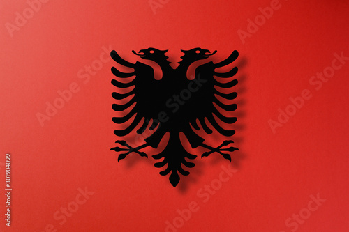 Albania flag made from paper cutting Wallpaper Mural
