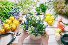 Florist At Work: Woman Arrangi...