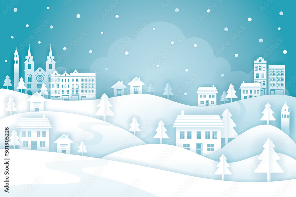 Fototapety, obrazy: Town or City in Winter Background, Paper Cutting, Origami Style