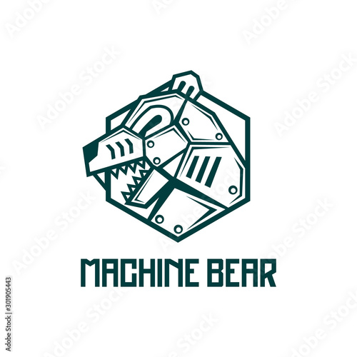Photographie  iron steel machine Bear robot logo design badge