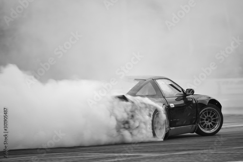 Leinwand Poster Motion Blur side view drift car