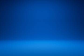 Empty blue background and spotlight with studio for showing or design. Blank backdrop made from cement material. Realistic 3D render.