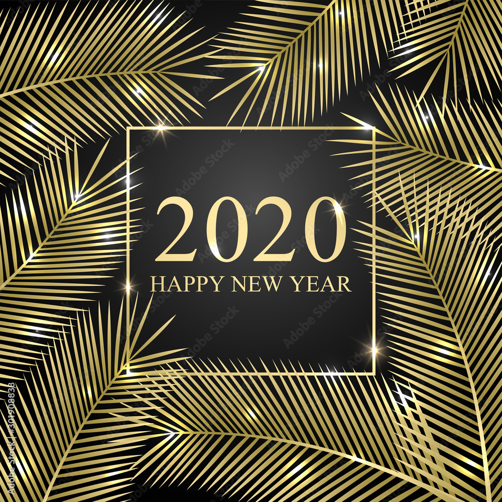 Fototapeta 2020 Happy New Year. Tropical greeting card for your design. Vector illustration.