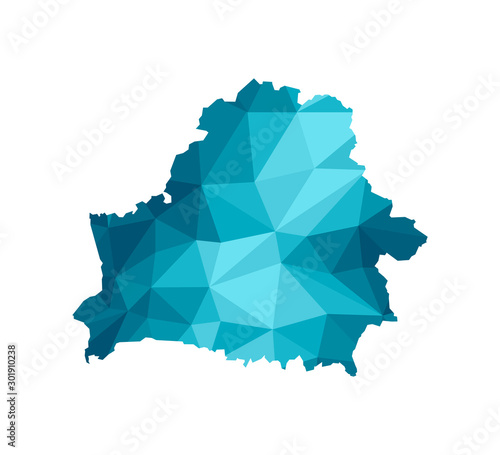 Photo Vector isolated illustration icon with simplified blue silhouette of Republic of Belarus map