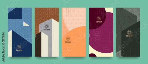 Obraz Vector set packaging templates japanese of nature luxury or premium products.logo design with trendy linear style.voucher, flyer, brochure.Menu book cover japan style vector illustration. - fototapety do salonu