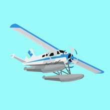 White And Blue Flying Hydroplane