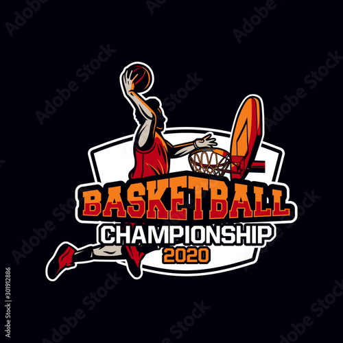 basketball championship 2020 modern and professional badge or logo for your team Canvas Print