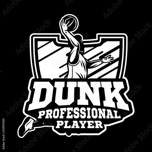 Photo  basketball championship 2020 modern and professional badge or logo for your team