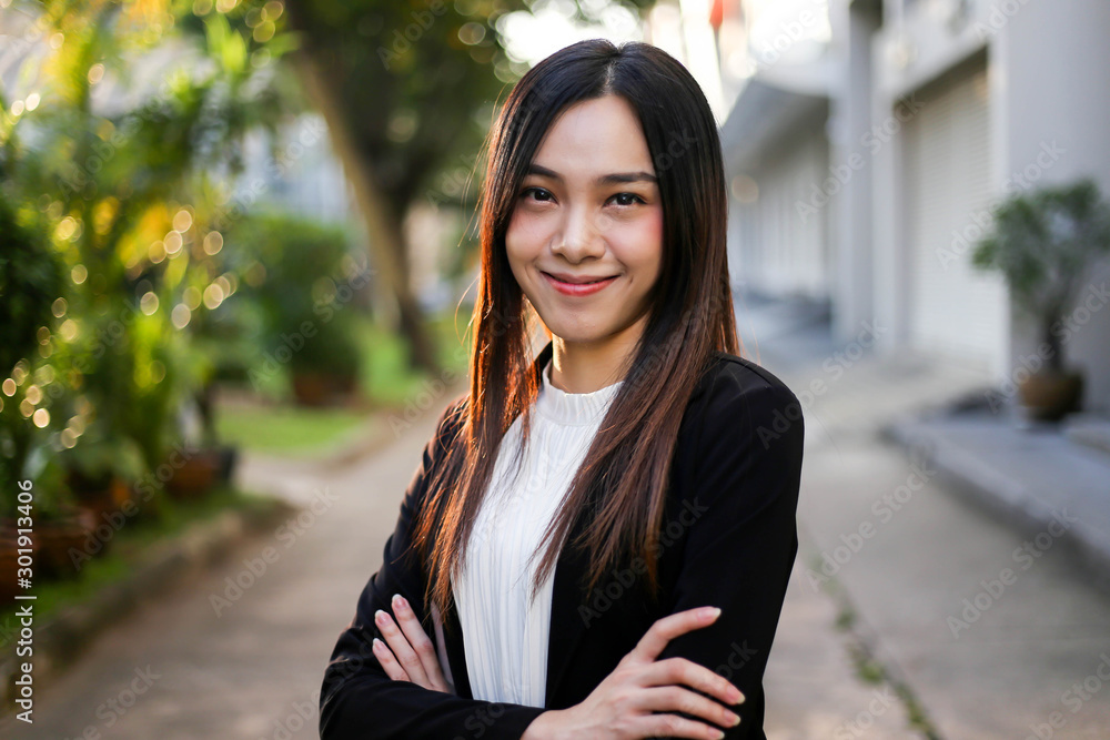 Fototapeta Portrait of Beautiful Young businesswoman asian smiling  happy for working.