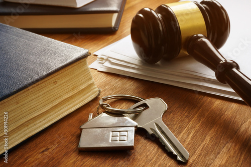 Fotomural Property law concept. Key from real estate and gavel.