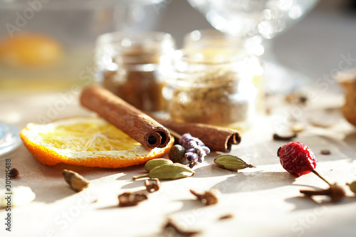 Obraz Spicy ingredients close up photo. Christmas and New year traditional receipts, festive food, homemade culinary - fototapety do salonu
