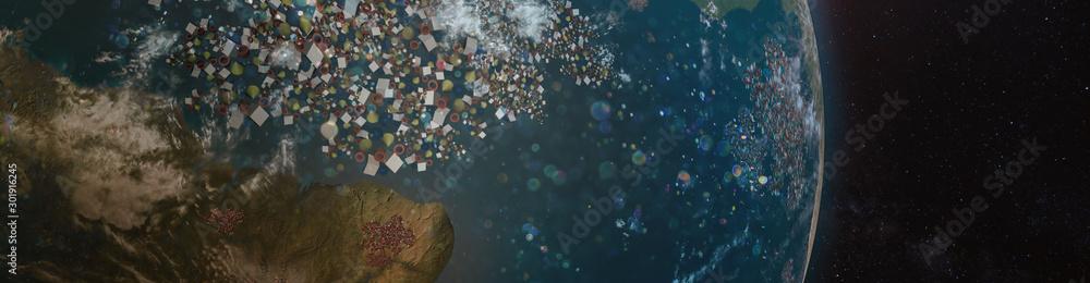 Fototapeta Aerial view of the Earth's oceans full of garbage