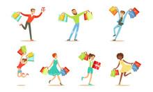 Men And Women Enjoy Shopping. ...