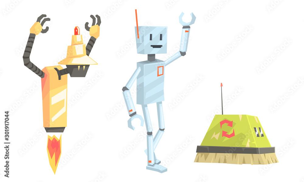 Fototapety, obrazy: Set of old fashioned robots. Vector illustration.
