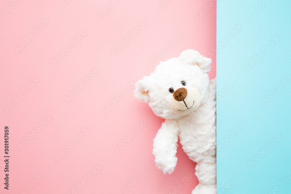 Fototapeta Smiling white teddy bear looking behind pastel blue wall. Mock up for happy, positive idea. Empty place for inspiration, emotional, sentimental text, quote or sayings on pink background. Front view.