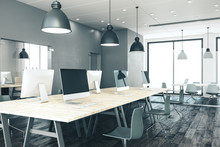 Office Interior With Panoramic...