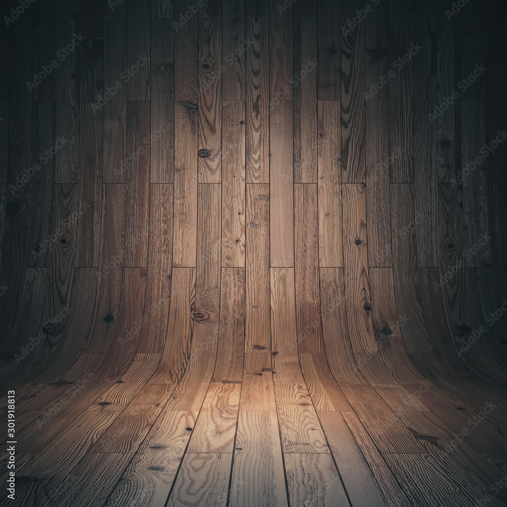 Fototapety, obrazy: curved wooden parquet