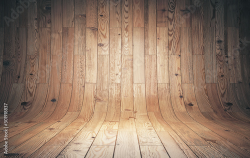 Cuadros en Lienzo  Brown curved wooden parquet