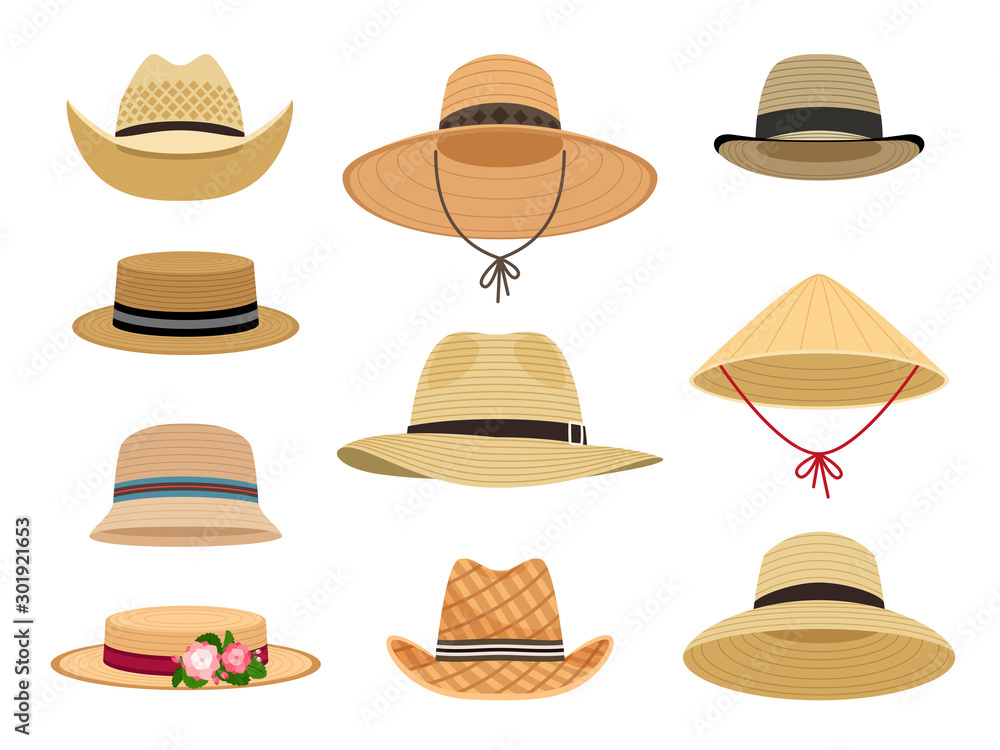 Fototapeta Farmers gardening hats. Asian japan hat and and female straw cap, yellow beach head accessory and summer traditional agriculture rural headdress isolated on white background