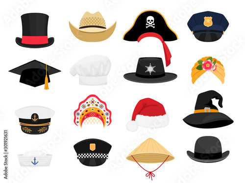 Obraz Carnival costumes hats. Fashion hat clothes accessory collectiorn, vintage police sheriff and traditional russian kokoshnik, witch and chef hats outfit - fototapety do salonu