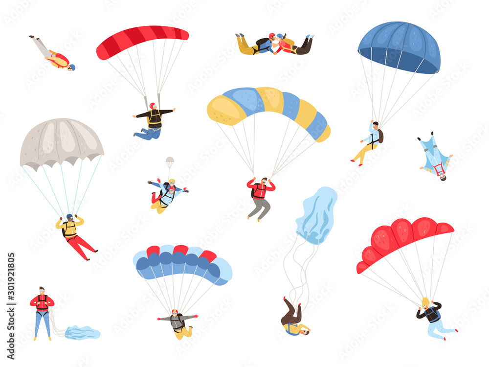 Fototapety, obrazy: Parachute skydivers. Paraglide and parachute jumping characters on white, paragliders and parachutists vector illustration, skydiver hobby and sport activities