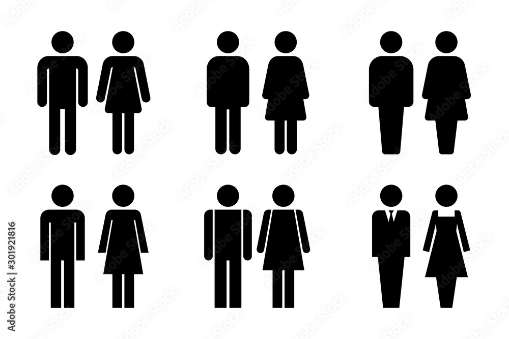Fototapeta Restroom door pictograms. Woman and man public toilet vector signs, female and male hygiene washrooms symbols, black ladies and gentlemen wc restroom ui