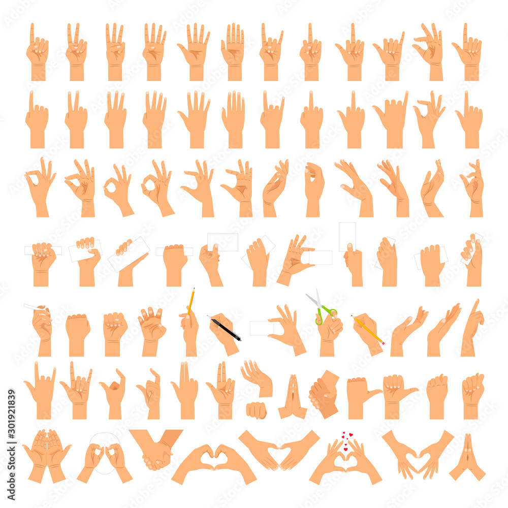 Fototapeta Woman hands and arms expressions. Women hand sign big set, ok and love heart, help handshake and press touch, praying and meditation, good and small