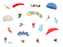 Parachute Skydivers. Paraglide And Parachute Jumping Characters On White, Paragliders And Parachutists Vector Illustration, Skydiver Hobby And Sport Activities