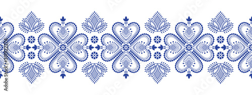Folklore floral Nordic Scandinavian pattern vector seamless border. Ethnic blue and white snowflake ornament with flowers and hearts. Finnish, Swedish and Norwegian style holiday decoration design.