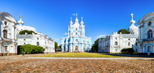 St. Petersburg - Smolny Monastery, Cathedral In Russia On Summer