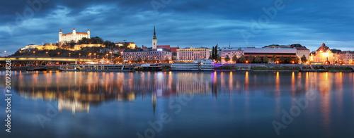 Slovakia - Panorama of Bratislava skyline with castle Canvas Print