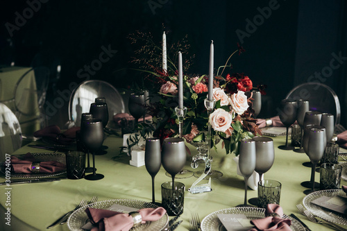 Beautiful wedding table decoration and setting