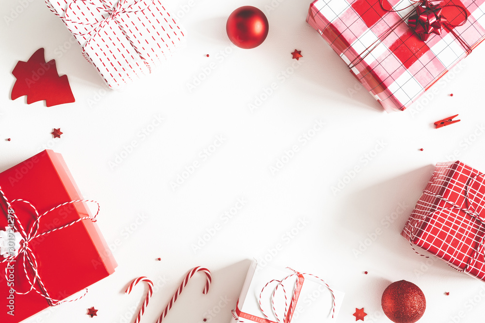 Fototapety, obrazy: Christmas composition. Gift box, christmas decorations on white background. Flat lay, top view, copy space