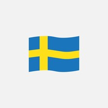 Sweden Flag Colors Flat Icon, Vector Sign, Waving Flag Of Sweden Colorful Pictogram Isolated On White. Symbol, Logo Illustration. Flat Style Design