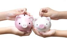 Saving Money - Two Kids Holdin...