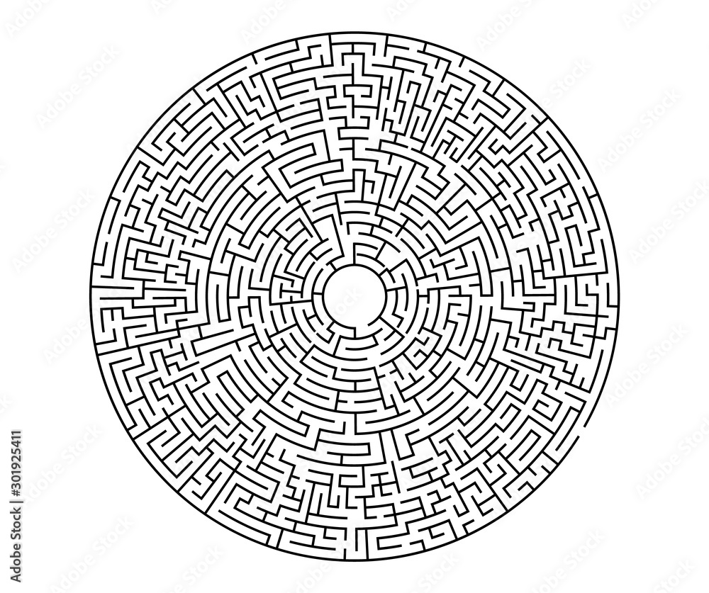 Fototapeta Very hard black vector labyrinth in flat style on an isolated white background. Round maze puzzle. A game for the of logic, intelligence, find the way exit from the circle.