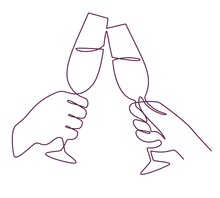 Hands With Champagne Glasses. ...