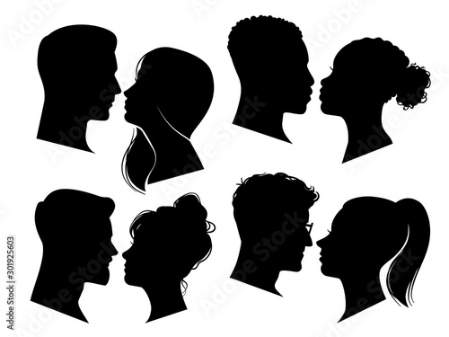Couple heads in profile Poster Mural XXL