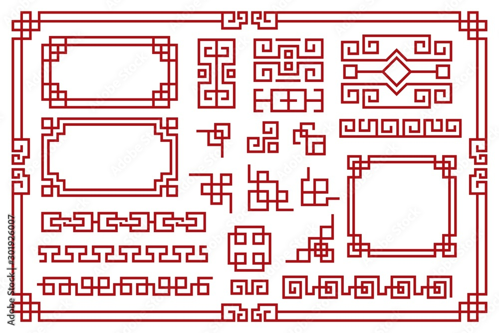 Fototapeta Chinese frames. Asian new year decorative square borders, red traditional oriental graphic patterns vintage art vector set